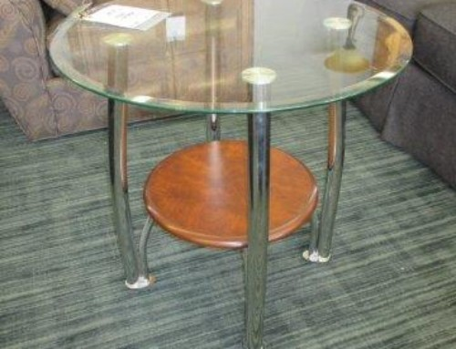Item #21A & 27A – Glass, Wood & Metal Table, 2 Available – $75 Each