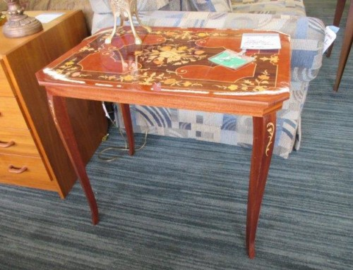 Item #56A – Italian Marquetry Inlaid Table – $145