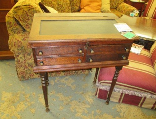 Item #14H – Rare Antique, Leather Topped Spool Cabinet – SALE $150