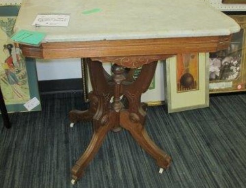 Item #17B – Victorian Walnut & Marble Table – $125